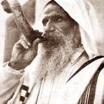 """BLOWING THE RAM HORN (SHOFAR) ON YOM KIPPUR,  RO"" by vintagephotos1900"