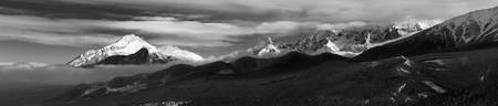 Panoramic photo of Tatra Mountains in Black&white