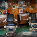 """Barber - Frenchtown, NJ - Two old barber chairs"" by mikesavad"