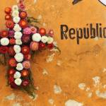 """Wreath against Peeling Paint Orange in Guate"" by charker"
