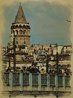 Galata Tower and the Galata Bridge