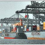 """Container ships in port"" by HAX"
