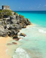 Mayan Temple and Turquoise Caribbean Sea