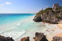 Mayan Temple and Beach, Tulum Mexico Seascape