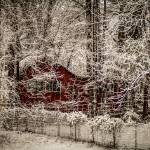 """red barn in snow"" by digidreamgrafix"