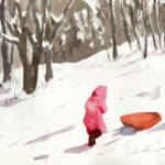 """Winter Snow Sled Scene, parent and little girl"" by schulmanart"