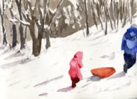 Winter Snow Sled Scene, parent and little girl