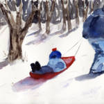 """Sledding Snow Scene, father and son"" by schulmanart"