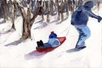 Sledding Snow Scene, father and son
