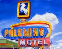 Route 66 Retro Neon Sign At Palomino Motel, Tucumc