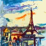 """Abstract Decorative Under Paris Skies Cityscape"" by GinetteCallaway"