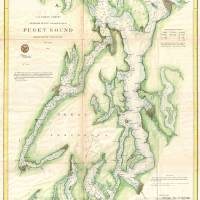 """Vintage Map of The Puget Sound (1867)"" by Alleycatshirts"