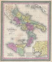 Vintage Map of Southern Italy (1853)
