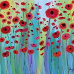 """Vibrant Poppies"" by srzimmartist"