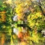"""Little House by the Stream in Autumn"" by susansartgallery"