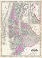 Vintage Map of NYC and Brooklyn (1866)