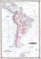 Vintage Map of South America (1861)