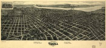 Vintage Map of Tulsa Oklahoma (1918)