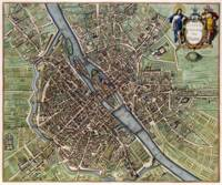 Vintage Map of Paris France (1657)