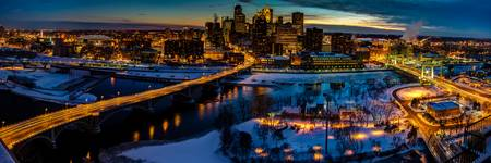 Minneapolis Twilight Skyline Panorama