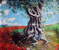 Olive Tree in a Sea of Poppies