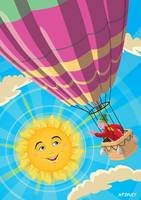 Girl in a balloon greeting a happy sun
