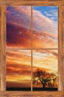 First Dawn Barn Wood Picture Window Frame View