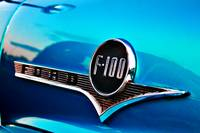 Blue F100 metal badge