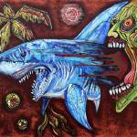 """Zombie Eats Shark"" by ArtPrints"