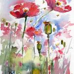 """Pink Poppies Pods and Bees Watercolor by Ginette"" by GinetteCallaway"