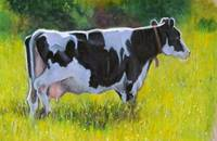 Holstein Cow in Oil Pastel