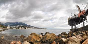 The panorama of Yalta bay from the embankment