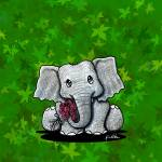 """Elephant On Green"" by KiniArt"
