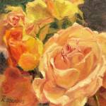 """Yellow and Peach Roses"" by KimStenbergFineArt"