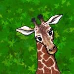 """Giraffe In Green"" by KiniArt"