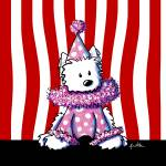 """Circus Clown Westie In Pink"" by KiniArt"