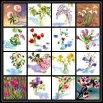 """Spring Flowers Collage II"" by KimStenbergFineArt"
