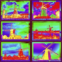 Colorful Windmills of Holland - Digital Art