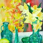 """Spring Flowers in Green Vases"" by BorsosAnnaRuzsan"