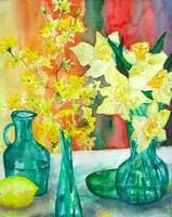 Spring Flowers in Green Vases