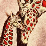 """mother and baby giraffe in brown and red"" by pietrastone"