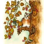 """Owl Watercolor Print"" by DonnaMariesArt"