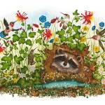 """Watercolor Painting-Hummingbird and Raccoon Print"" by DonnaMariesArt"