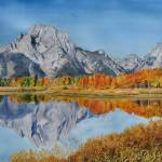 """Oxbow bend in the Grand Tetons"" by PaintedPathWatercolors"