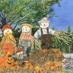"""Scarecrow Family"" by PaintedPathWatercolors"