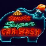"""Elephant Car Wash Neon at Night"" by midcenturymodern"