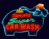 Elephant Car Wash Neon at Night
