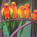 """parrots -kool and the gang."" by traciebrownart"