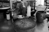 ROAD-SIDE COOKING STALL, INGREDIENTS, Black & Whit