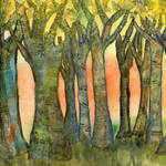 """Sunset Trees, landscape modern collage painting"" by schulmanart"